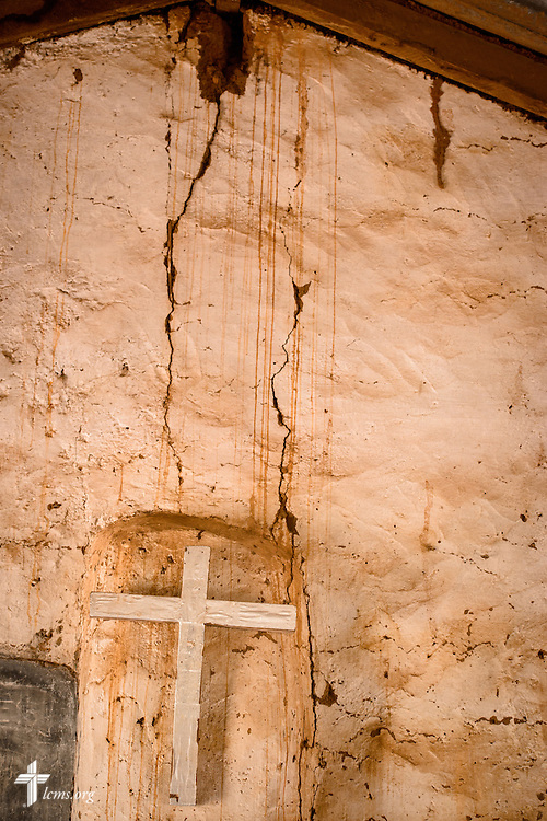 The wall cross behind the altar at the Lutheran Church of Togo in Kpierik on Tuesday, Feb. 14, 2017, in Kpierik, Togo. LCMS Communications/Erik M. Lunsford