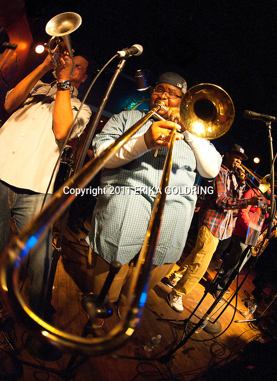 Soul Rebels Brass Band performs at Blue Nile February 6, 2011, in New Orleans, LA. © Erika Goldring - All Rights Reserved.
