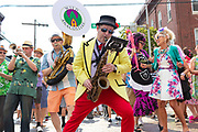 The Wild Anacostias Brass Band performs at Honfest 2018 on Saturday, June 9, 2018 in Baltimore, MD.