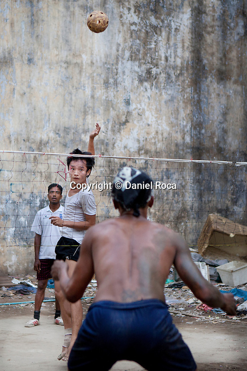he ball can't be touched with the hands in chinlone. Yangon, Myanmar.