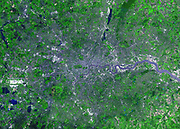 London photographed from space in2001 by the Advanced Space borne Thermal Emission and Reflection Radiometer (ASTER) on NASA's Terra satellite. With its 14 spectral bands from the visible to the thermal infrared wavelength region, and its high spatial resolution of 15 to 90 meters (about 50 to 300 feet), ASTER images Earth to map and monitor the changing surface of our planet.