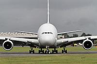 FARNBOROUGH - JULY 13: Airbus Industrie Airbus A380 at the Farnborough International Airshow, Farnborough Airport, UK. July 13, 2012. (Photo by Richard Goldschmidt)