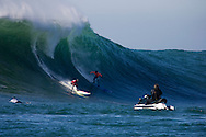 Greg Long and Jamie Sterling battle it out in the final heat of the 2008 Mavericks Surf Contest on January 12 2008