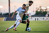 FIU striker Santiago Patiño battles for possession against a defender from University of Alabama at Birmingham during a Conference-USA game at FIU in Miami, Friday, September 14, 2019.