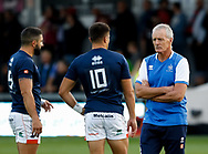 Benetton Treviso's Head Coach Kieran Crowley talks to Tommaso Allan during the pre match warm up<br /> <br /> Photographer Simon King/Replay Images<br /> <br /> Guinness PRO14 Round 1 - Dragons v Benetton Treviso - Saturday 1st September 2018 - Rodney Parade - Newport<br /> <br /> World Copyright &copy; Replay Images . All rights reserved. info@replayimages.co.uk - http://replayimages.co.uk