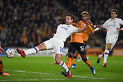 Captain Cesar Azpilicueta (28) of Chelsea FC shot on goal is blocked during the The FA Cup match between Hull City and Chelsea at the KCOM Stadium, Kingston upon Hull, England on 25 January 2020.