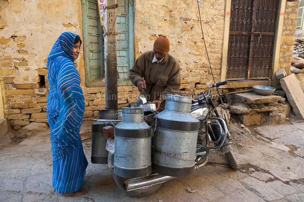 Jaisalmer, Rajasthan, India.Selling fresh milk on a corner inside the old fort