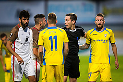 Referee and Matic Crnic of NK Domzale, Zan Majer of NK Domzale, Antonio Jose Aguilar of FC Lusitanos during football match between NK Domzale and FC Lusitanos Andorra in first match of UEFA Europa League Qualifications, on June 30, 2016 in Sports park Domzale, Domzale, Slovenia. Photo by Ziga Zupan / Sportida