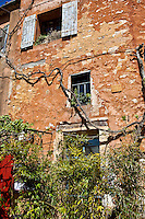 Abandoned old building with interesting textures and colors, France. Architecture. People and places fine art photography.