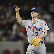 David Wright, New York Mets, celebrates after the final out  during the New York Yankees V New York Mets, Subway Series game at Yankee Stadium, The Bronx, New York. 12th May 2014. Photo Tim Clayton