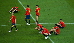 MOSCOW, RUSSIA - Sunday, July 1, 2018: Adios... Spain players look dejected after losing 4-3 on penalties during the FIFA World Cup Russia 2018 Round of 16 match between Spain and Russia at the Luzhniki Stadium. Andres Iniesta, Rodrigo Moreno Machado, Francisco Román Alarcón Suárez 'Isco', Gerard Pique. (Pic by David Rawcliffe/Propaganda)
