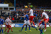 Stevenage FC Defender Luke Wilkinson heads the corner during the Sky Bet League 2 match between Carlisle United and Stevenage at Brunton Park, Carlisle, England on 20 February 2016. Photo by Craig McAllister.