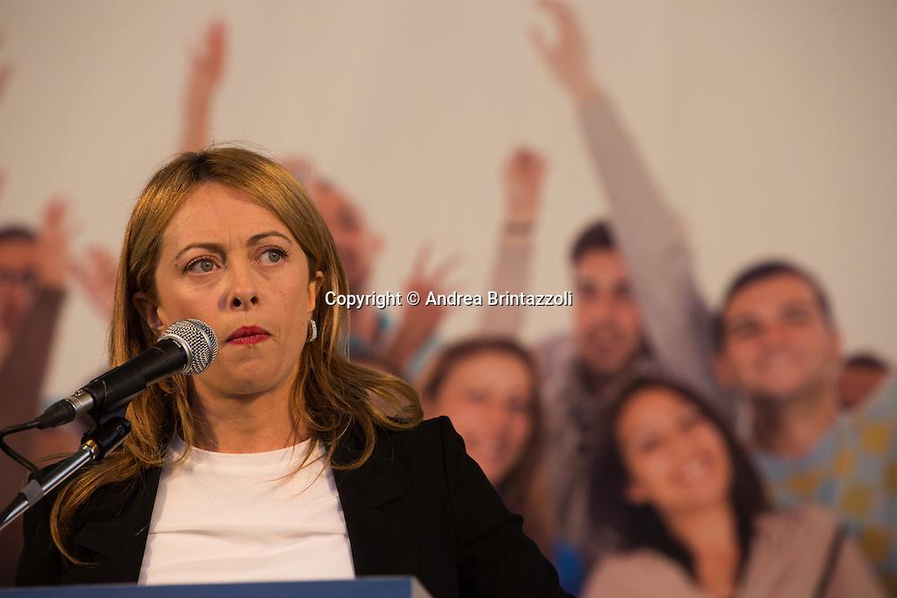 Bologna 08/11/2015 Manifestazione Lega Nord Liberiamoci e ripartiamo! <br /> Nella Foto: Giorgia Meloni Presidente di Fratelli d&rsquo;Italia
