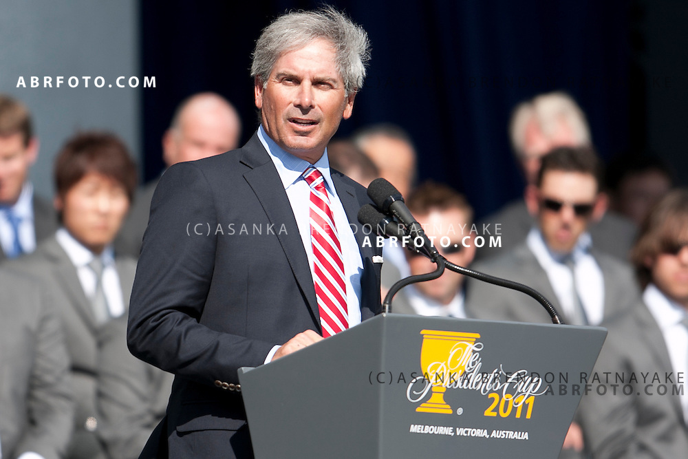 16 November 2011 : US captain Fred Couples addresses the crowd during the opening ceremony at the Presidents Cup at the Royal Melbourne Golf Club in Melbourne, Australia. .