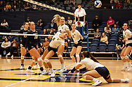 October 31, 2018 - Johnson City, Tennessee - Brooks Gym: ETSU outside hitter Leah Clayton (8), ETSU middle blocker Braedyn Tutton (17)<br /> <br /> Image Credit: Dakota Hamilton/ETSU