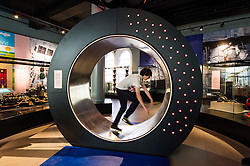 Pictured: Henry Boyle (14) tries to light up the energy wheel<br /> <br /> The National Museum of Scotland will launch ten new galleries on 8 July following a £14.1 million redevelopment in their 150th year.  <br /> <br /> Ger Harley | EEm 5 July 2016