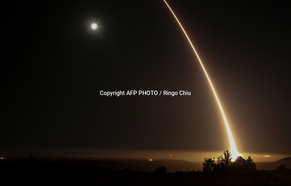 U.S. military test fire an intercontinental ballistic missile (ICBM) at Vandenberg Air Force Base in California, on May 3, 2017. AFP PHOTO / Ringo Chiu
