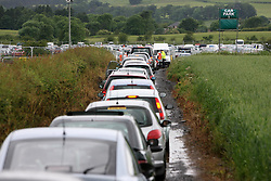 The first day was marred by traffic chaos in the main car parks..T in the Park festival took place on the 6th, 7th and 8 July 2007, at Balado, near Kinross in Perth and Kinross, Scotland. This was the first time the festival had been held over three days..Pic ©2011 Michael Schofield. All Rights Reserved..