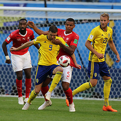 July 3, 2018 - Russia - July 03, 2018, St. Petersburg, FIFA World Cup 2018 Football, the playoff round. Football match of Sweden - Switzerland at the stadium of St. Petersburg. Player of the national team Marcus Berg; Manuel Akandji. (Credit Image: © Russian Look via ZUMA Wire)
