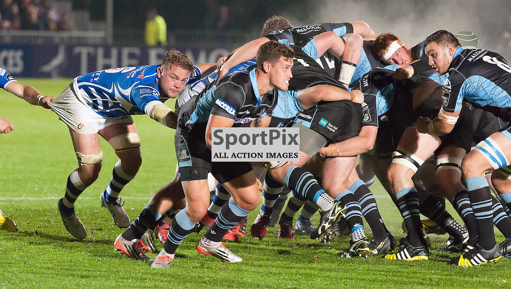 #6 Lewis Evans (Newport Gwent Dragons) keeps a close eye on #9 Grayson Hart (Glasgow Warriors)