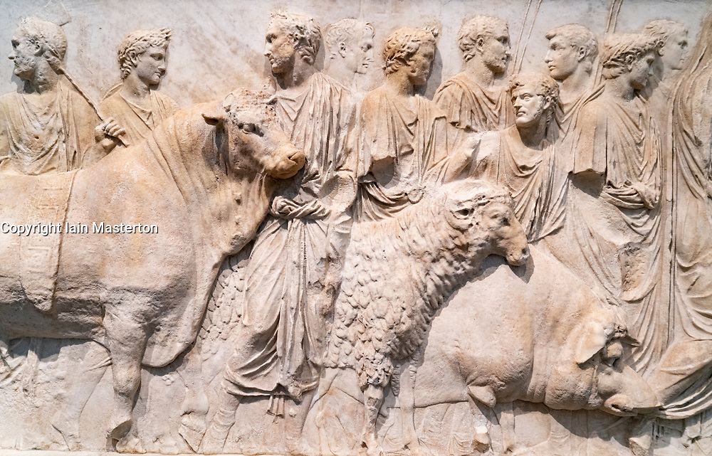 Fragment of an architectural relief showing a ritual sacrifice, Roman Empire.