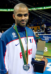 Tony Parker of France at medal ceremony after the final basketball game between National basketball teams of Spain and France at FIBA Europe Eurobasket Lithuania 2011, on September 18, 2011, in Arena Zalgirio, Kaunas, Lithuania. Spain defeated France 98-85 and became European Champion 2011, France placed second and Russia third. (Photo by Vid Ponikvar / Sportida)