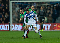 Football - 2018 / 2019 Emirates FA Cup - Fifth Round: Queens Park Rangers vs. Watford<br /> <br /> Tom Cleverley (Watford FC)  has a hold of Luke Freeman (Queens Park Rangers) as he attempts to slow the break away at Loftus Road<br /> <br /> COLORSPORT/DANIEL BEARHAM