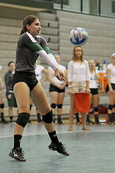 21 September 2013:  Sydney Sabino during an NCAA women's division 3 Volleyball match between the Lincoln Christian University Lady Lynx and the Illinois Wesleyan  University Titans in Shirk Center, Bloomington IL