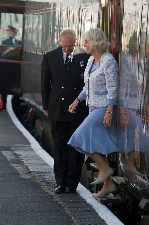 "Bridgnorth Worcester  The Prince of Wales and the Duchess of Cornwall visit the Severn Valley Railway travelling the full lenght by Royal Train  hauled by a GWR ""King"" Class Steam Locomotive n 6024 King Edward Ist"