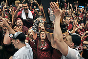 Bellarmine fans cheer on the team after their 71-68 win against BYU-Hawaii in the NCAA Division II men's college basketball championship in Springfield, Mass., Saturday, March 26, 2011.  (AP Photo/Jessica Hill)