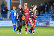 Gillingham FC manager Steve Lovell with Bradford City  midfielder Josh Wright and ex- Gillingham player (44) after  the EFL Sky Bet League 1 match between Gillingham and Bradford City at the MEMS Priestfield Stadium, Gillingham, England on 27 October 2018.