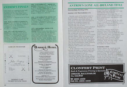 All Ireland Senior Hurling Championship Final,.03.09.1989, 09.03.1989, 3rd September 1989, .Antrim v Tipperary, .03091989AISHCF,.Tipperary 4-24, Antrim 3-9,..Barry's Hotel, Clonfert Print,