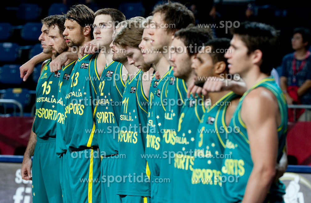 Aron Baynes of Australia and other players of Australia listening to the national anthem during  the eight-final basketball match between National teams of Slovenia and Australia at 2010 FIBA World Championships on September 5, 2010 at the Sinan Erdem Dome in Istanbul, Turkey. (Photo By Vid Ponikvar / Sportida.com)