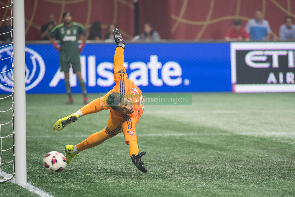 August 1, 2018 - Atlanta, Georgia, United States - MLS All-Star goalkeeper ZACK STEFFEN, 18, (Columbus Crew) watches as the ball heads into the goal during penalty kicks at the 2018 MLS All-Star Game at Mercedes-Benz Stadium in Atlanta, Georgia.  Juventus F.C. defeats  MLS All-Stars defeat  1 to 1  (Credit Image: © Mark Smith via ZUMA Wire)