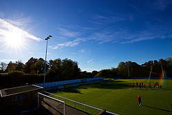 BANGOR, WALES - Monday, October 15, 2018: Wales players inspect the pitch before the UEFA Under-19 International Friendly match between Wales and Poland at the VSM Bangor Stadium. (Pic by Paul Greenwood/Propaganda)