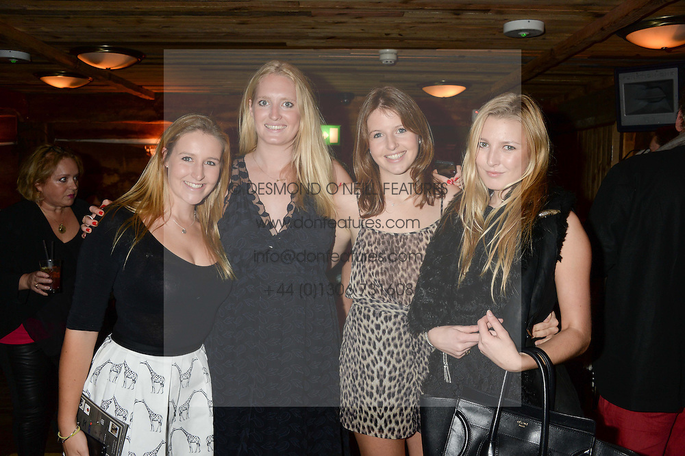 Left to right, ANNA ROWLINSON, GEORGIE LE ROUX, HARRIET ROWLINSON and MILLI BENNETT at 'Bodo's Schloss Goes Wild For Lewa' held at Bodo's Schloss, 2A Kensington High St, London W8 on 9th October 2013.