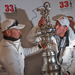 Spithill and Larry Ellison<br /> BMW Oracle wins the America's Cup<br /> 2010 America's Cup, Valencia<br /> ©2010 Kaufmann/Forster go4image.com