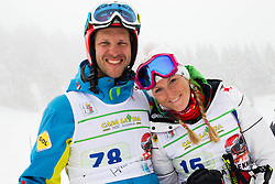 Andrej Jerman and Janica Kostelic during last race of A.  Jerman, Slovenian best downhill skier when he finished his professional alpine ski career on April 6, 2013 in Krvavec Ski resort, Slovenia. (Photo By Vid Ponikvar / Sportida)