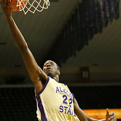November 27, 2011; New Orleans, LA; Alcorn State Braves forward Chris Brand (22) during the second half of a game at the Lakefront Arena. New Orleans defeated Alcorn St. 63-56. Mandatory Credit: Derick E. Hingle-US PRESSWIRE