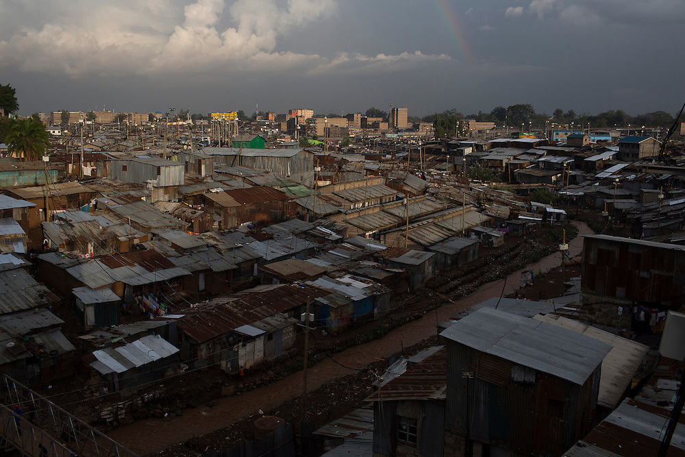 A general view shows a part of the sprawling Mathare slum in the capital Nairobi.