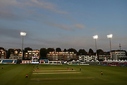 The county ground under flood lights during the Women's Cricket Super League match between Southern Vipers and Lancashire Thunder at the 1st Central County Ground, Hove, United Kingdom on 15 August 2019.