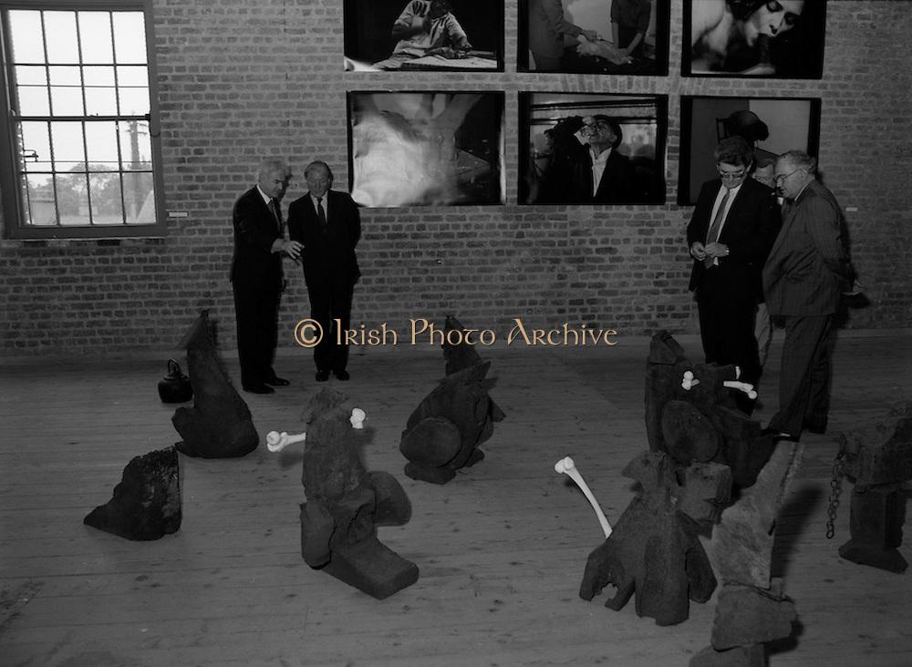 19/08/1988<br /> 08/19/1988<br /> 19 August 1988<br /> Taoiseach visits ROSC '88 at the Guinness Hop Store, Dublin.  Taoiseach Charles Haughey listens as Pat Murphy ROSC Chairman, explains an exhibit.