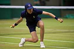 LONDON, ENGLAND - Friday, July 5, 2019: A ball boy during the Ladies' Singles third round match on Day Five of The Championships Wimbledon 2019 at the All England Lawn Tennis and Croquet Club. (Pic by Kirsten Holst/Propaganda)