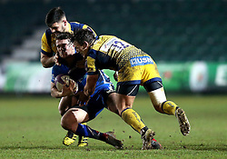 Matti Williams of Worcester Warriors and Ryan Mills of Worcester Warriors make a tackle on Tavis Knoyle of Newport Gwent Dragons - Mandatory by-line: Robbie Stephenson/JMP - 16/12/2016 - RUGBY - Rodney Parade - Newport, Wales - Newport Gwent Dragons v Worcester Warriors - European Rugby Challenge Cup