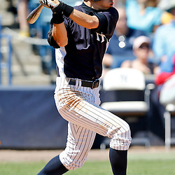Mar 16, 2013; Tampa, FL, USA; New York Yankees right fielder Ichiro Suzuki (31) grounds into a double play during the bottom of the sixth inning of a spring training game against the Philadelphia Phillies at George Steinbrenner Field. Mandatory Credit: Derick E. Hingle-USA TODAY Sports