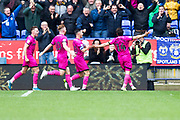 Rochdale midfielder Ollie Rathbone celebrates his goal to make it 2-1 during the EFL Sky Bet League 1 match between Bolton Wanderers and Rochdale at the University of  Bolton Stadium, Bolton, England on 19 October 2019.