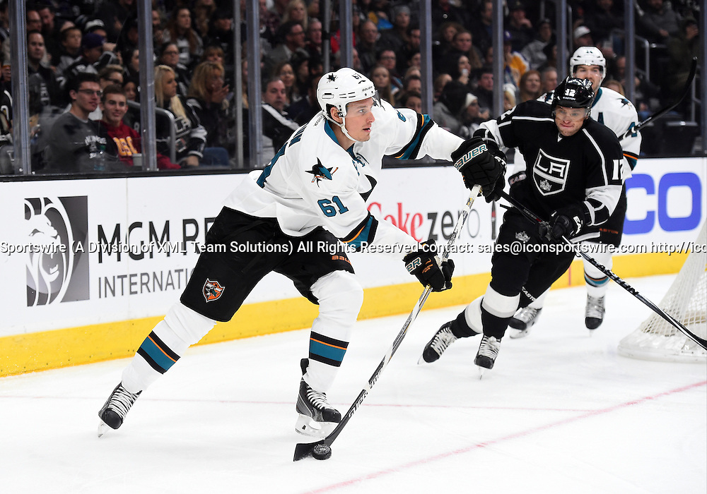 27 December 2014: San Jose Sharks Defenseman Justin Braun (61) [6141] during an NHL game between the San Jose Sharks and the Los Angeles Kings at STAPLES Center in Los Angeles, CA.