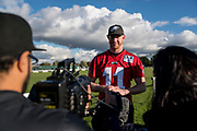 Philadelphia Eagles Carson Wentz QB (11) interviews during the press, training and media day for Philadephia Eagles at London Irish Training Ground, Hazelwood Centre, United Kingdom on 26 October 2018. Picture by Jason Brown.