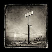 "Charles Blackburn Instagram image of as abandoned gas sign at the Salton Sea, CA. 5x5"" print."