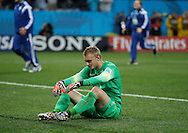 Jasper Cillessen of Netherlands sits dejected on the pitch after loosing the penalty shoot out during the 2014 FIFA World Cup match at Arena Corinthians, Sao Paulo<br /> Picture by Andrew Tobin/Focus Images Ltd +44 7710 761829<br /> 09/07/2014